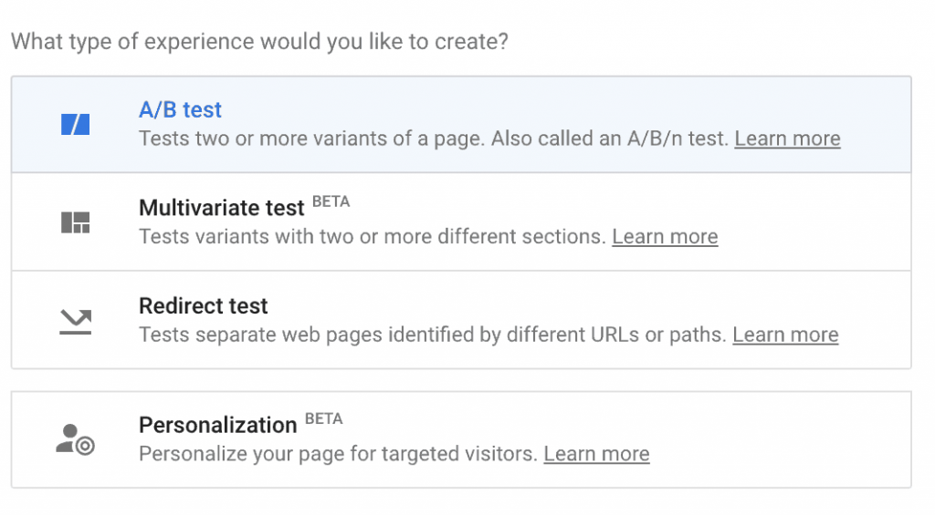 Google Optimize Experience Options