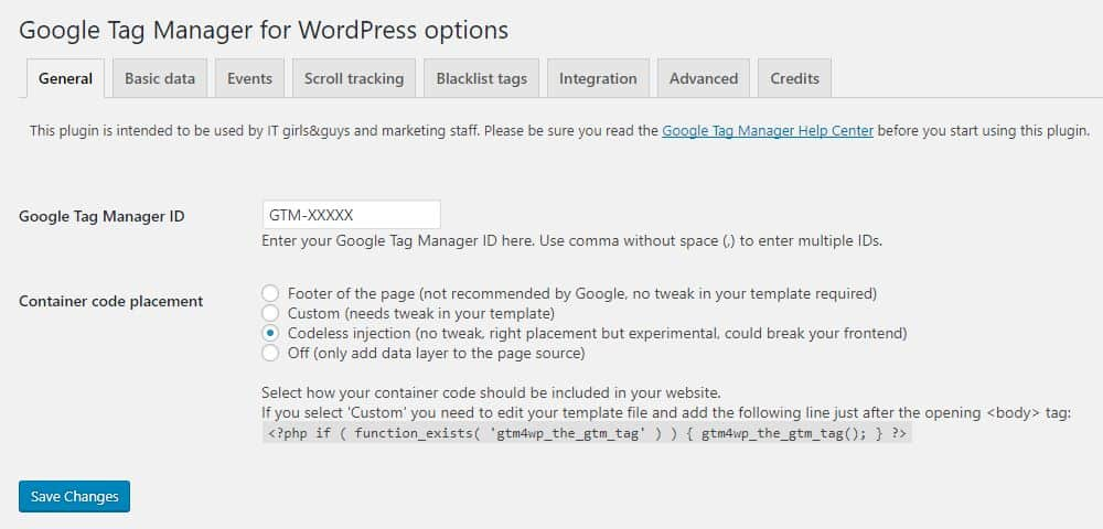 GTM WordPress Plugin Settings